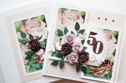 Kartka URODZINOWA z brązowymi różami