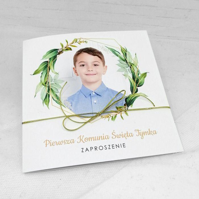 Zaproszenie na komunię dla chłopca ze zdjęciem zielone liście ZKS 006  - Zaproszenie na komunię dla chłopca ze zdjęciem zielone liście (4)