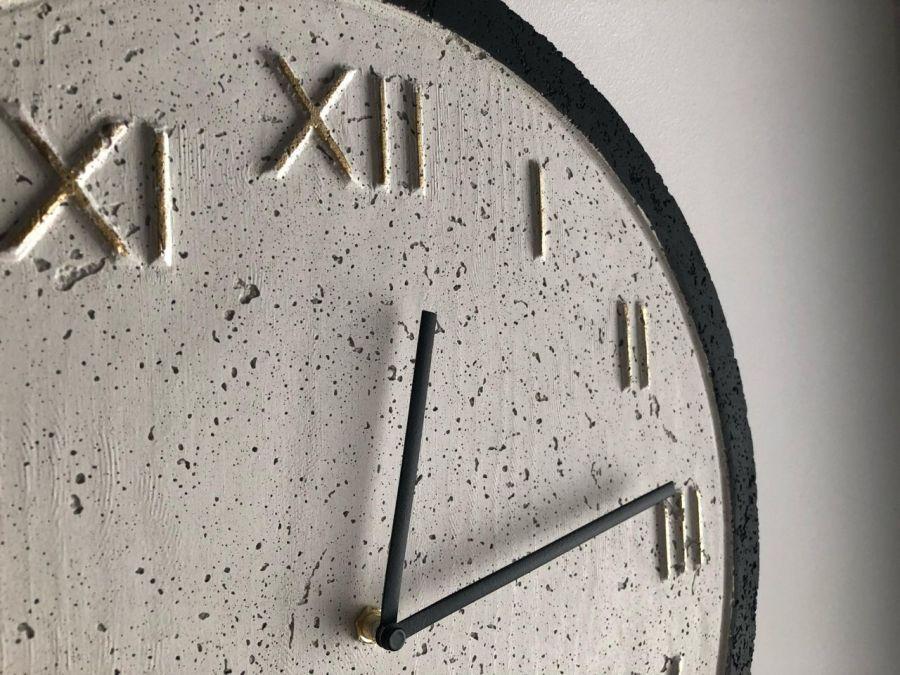 Zegar Betonowy Roman Biały Czarny Złoto - Zegar Roman Metallic Biały-Czarny-Złoto #4