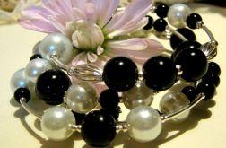 Black and white, bransoletka z perłami
