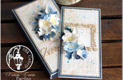 Kartka dla emeryta, kwiaty pudełko