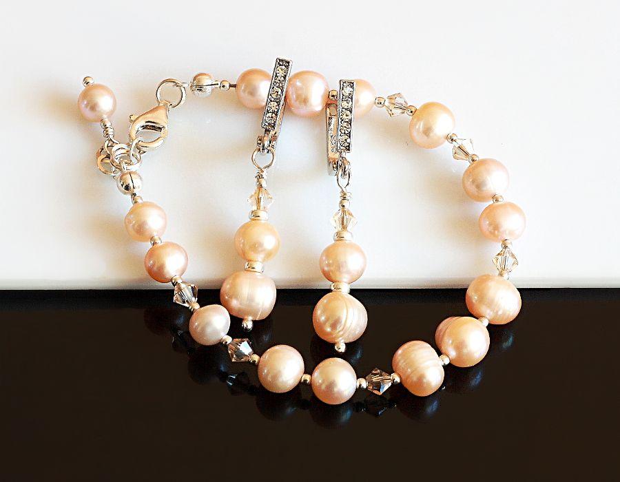 Złocista bransoletka - perły i kryształy Swarovskiego