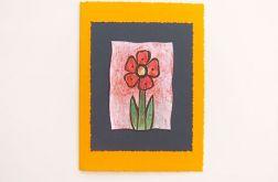 Kartka oranżowa  z kwiatkiem 10