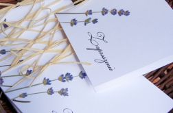 Prowansalskie zaproszenia ślubne lawendowe