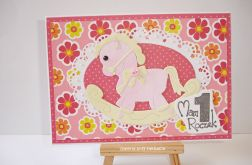 Kartka na roczek różowa z konikiem