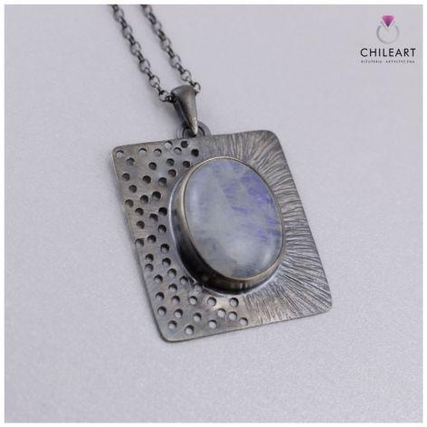 Kamień księżycowy i srebro - komplet 2918