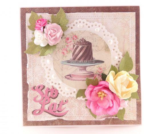 Urodzinowa z tortem - brąz z różem