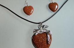 Piasek pustyni, brązowe serce,zestaw biżuteri