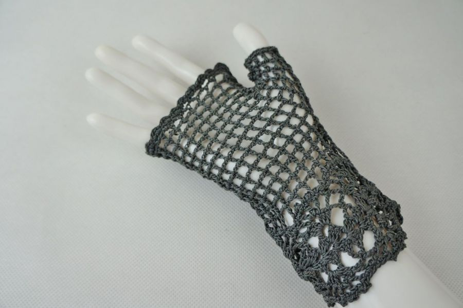 Romantyczne rękawiczki mitenki grafit - Modne rękawiczki