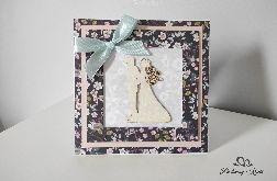 Kartka na ślub granatowa kwiatuszki