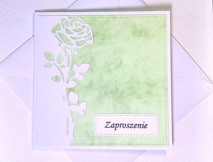 Zaproszenie z różą nr 3 - z kopertą
