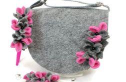 Torebeczka z kwiatuszkami, opaska i bransletk