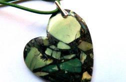 Asymetryczne serce,zielony turkus z pirytem