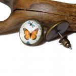 Kolczyki z Pomarańczowym Motylkiem