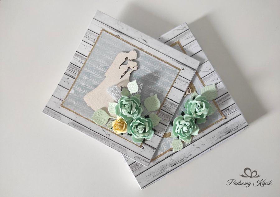 Kartka na ślub z pudełeczkiem z kwiatami zielone róże -