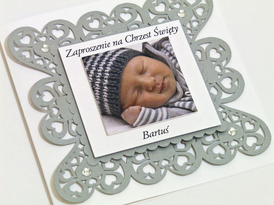 Zaproszenie na chrzest i roczek zdjęcie serce