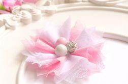 Spinka do włosów TIULOWY KWIAT biel róż