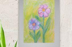Rysunek kwiaty na szarym tle szkic nr 3