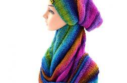 komplet kolorowy - czapka i komin