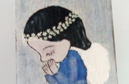 Anioł stojący ze złożonymi rękami - obraz na desce