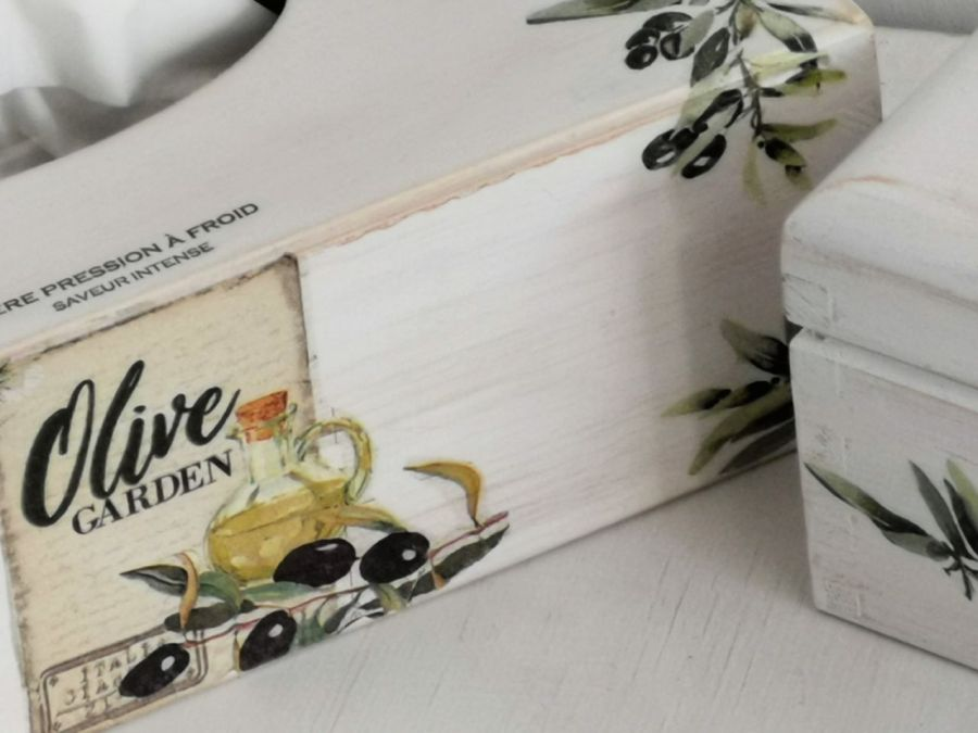 Chustecznik i herbaciarka- komplet # - komplet wzór oliwki