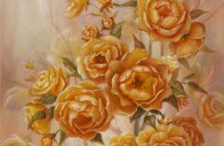 Różany Krzew, ręcznie malowany, olej