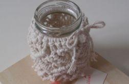 Świecznik makramowy sweterek