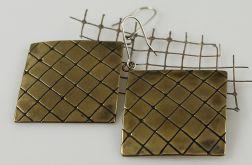 W kratkę - mosiężne kolczyki 141113-11