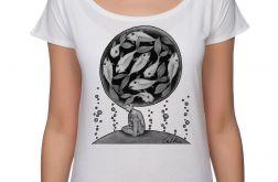 Ryby - koszulka oversize - biała