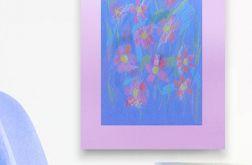 Rysunek kwiaty na fioletowym tle nr 17 szkic