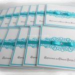 Zaproszenia na chrzest biało turkusowe