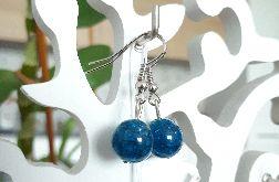 Kolczyki handmade niebieskie z żyłkami