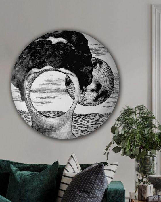 Obraz w okrągłej ramię - Piero Fornasetti