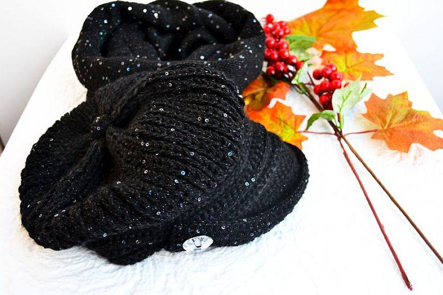 Komplet czapka i komin czarny z cekinami