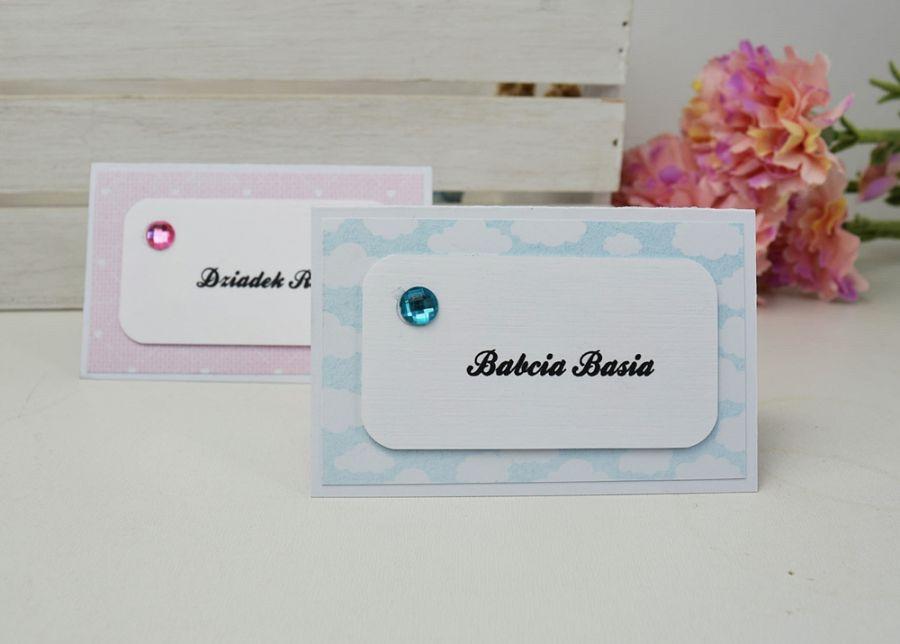 winietki na stół - niebieskie lub różowe -