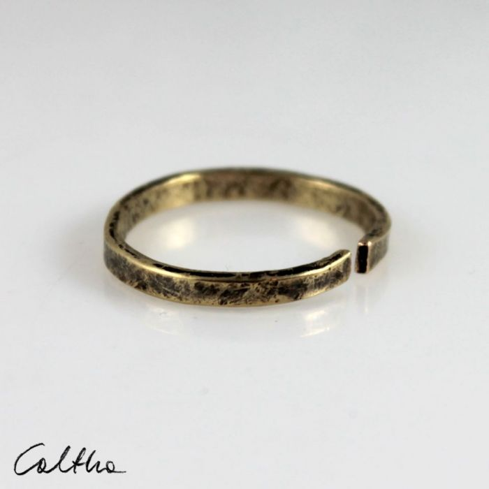 Mosiężna obrączka 200131-03 - Cienki pierścionek
