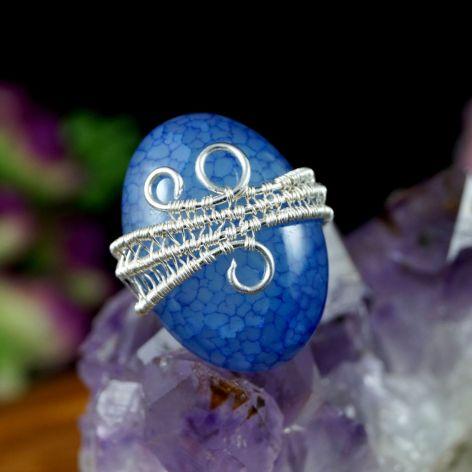 Agat dragon, srebrny pierścionek z agatem
