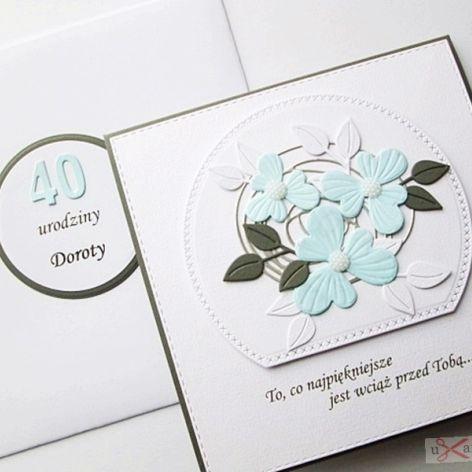 Kartka URODZINOWA z błękitnymi kwiatami