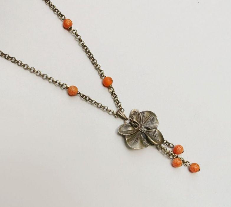 Kwiat Orchidei NASZYJNIK orange -
