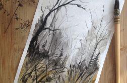 Obraz na ścianę akwarela Jesień las mgła art