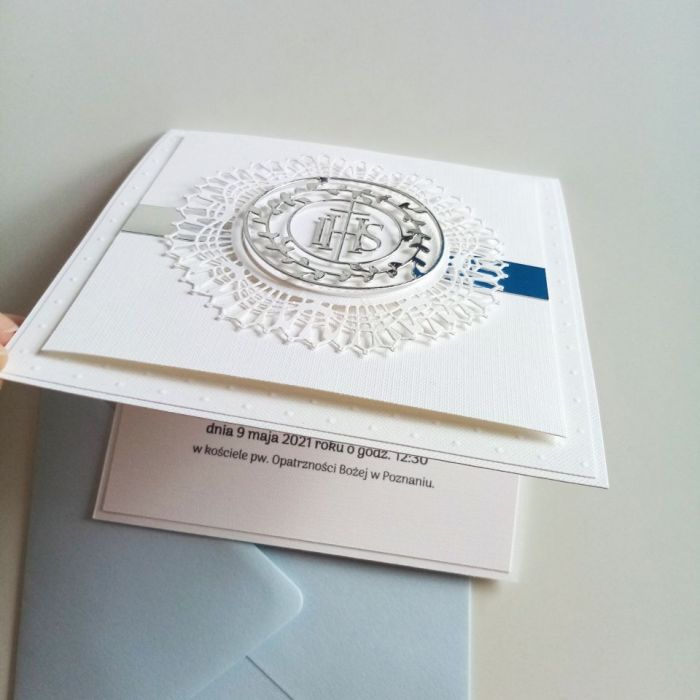 Delikatne zaproszenie komunijne - hostia02