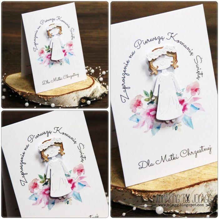 Zaproszenie Dla Matki Chrzestnej Dziewczynka Cardmaking By Jolagg