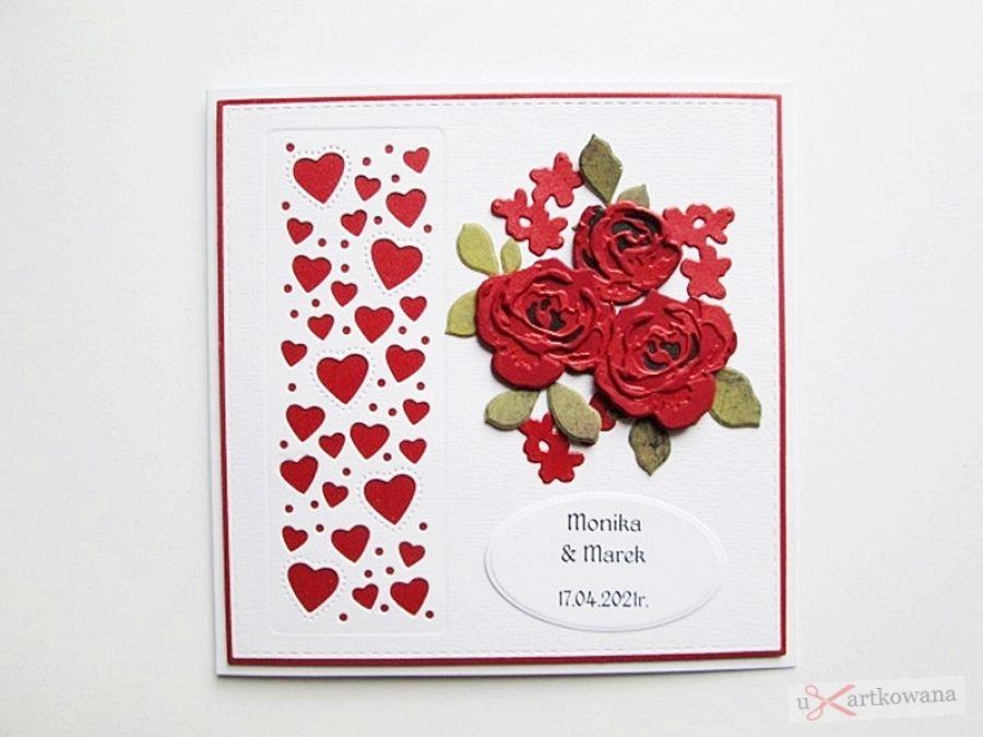 Kartka ŚLUBNA ciemnoczerwone róże - Kartka ślubna ciemnoczerwone róże