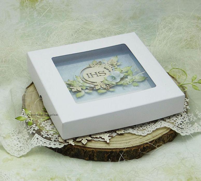 Pamiątka I Komunii Św. w pudełku 05 - kartka w pudełku na komunię