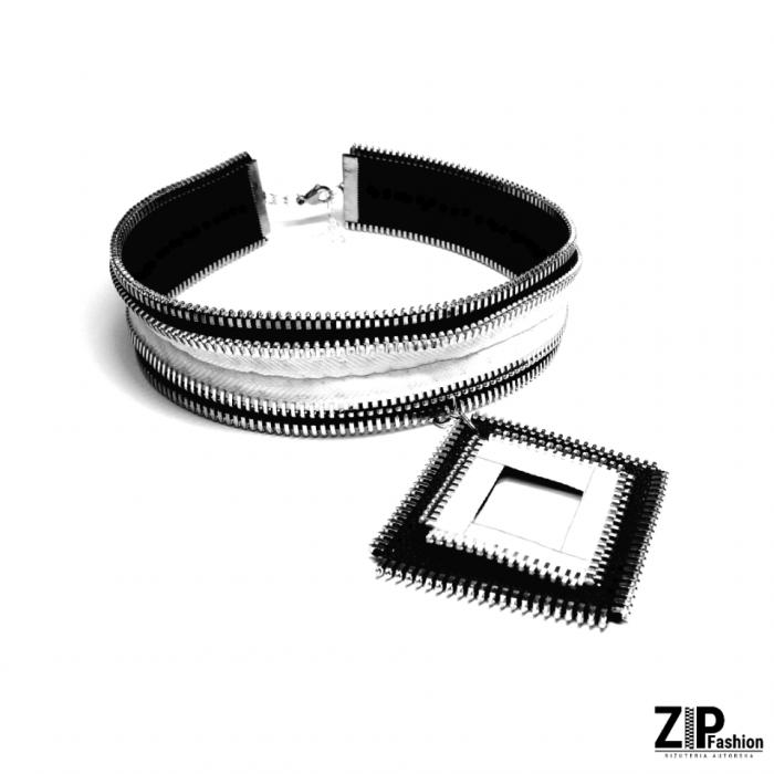 Rockowy komplet czarno-białej biżuterii