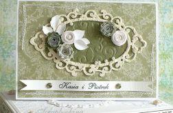 Ślubna zieleń - kartka w pudełku