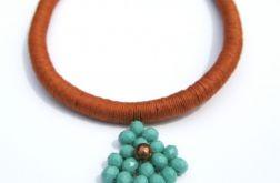 Naszyjnik z lnu i korali szklanych Bijal