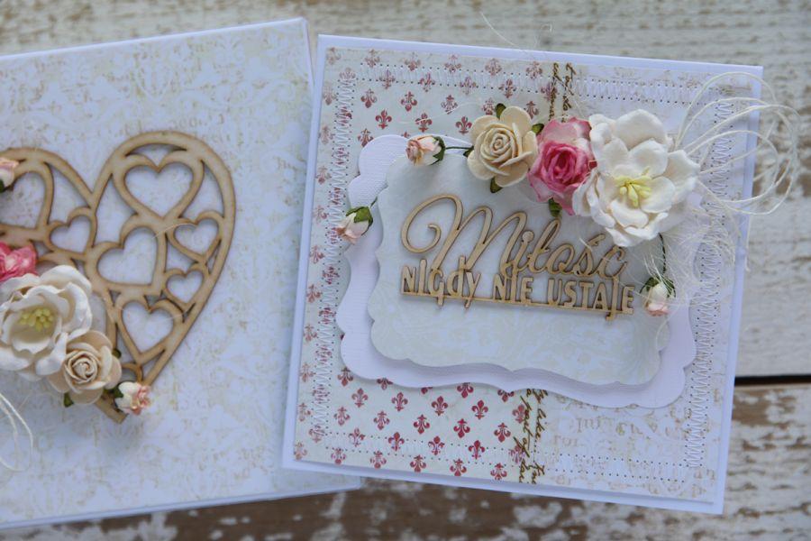 Kartka na ślub z pudełkiem - zestaw 1