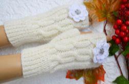 W kolorze ecru rękawiczki mitenki - krótkie