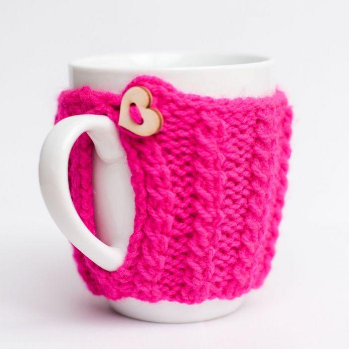 Kubek w sweterku - róż
